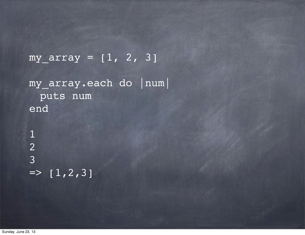 my_array = [1, 2, 3] my_array.each do  num  ! p...