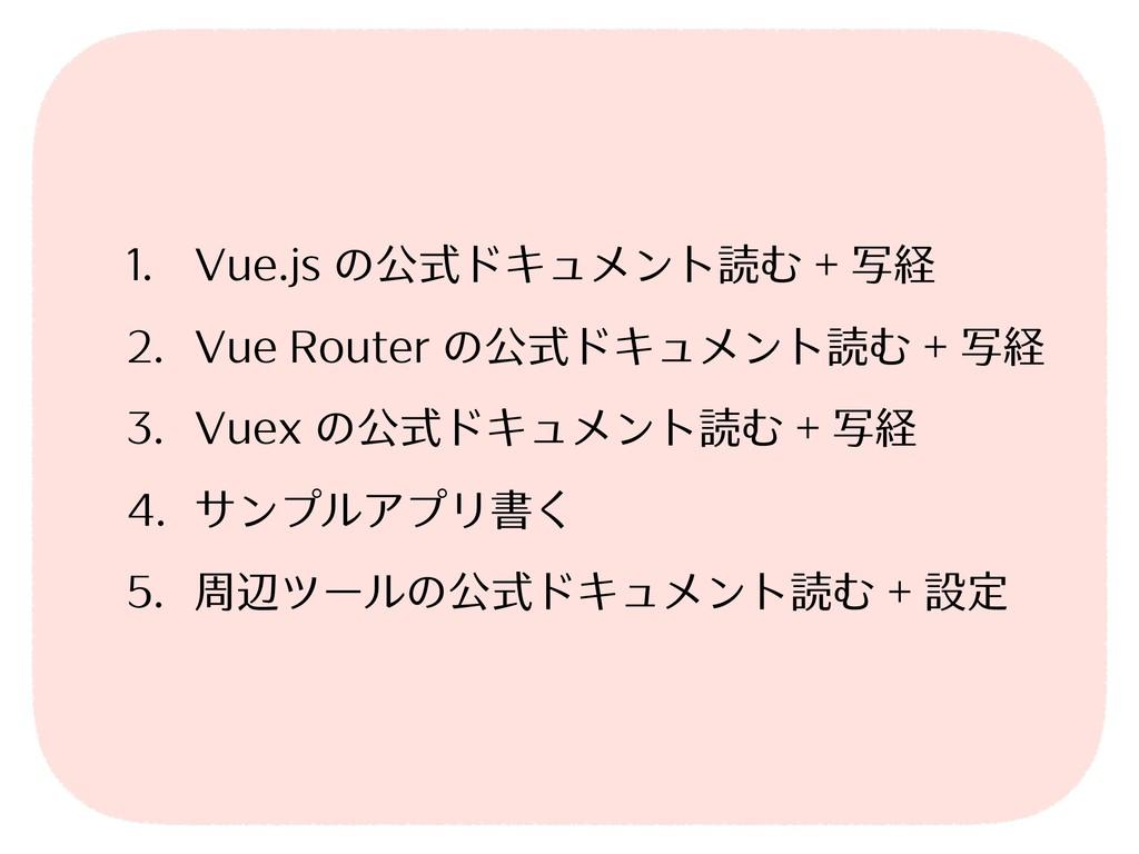 1. Vue.js の公式ドキュメント読む + 写経 2. Vue Router の公式ドキュ...