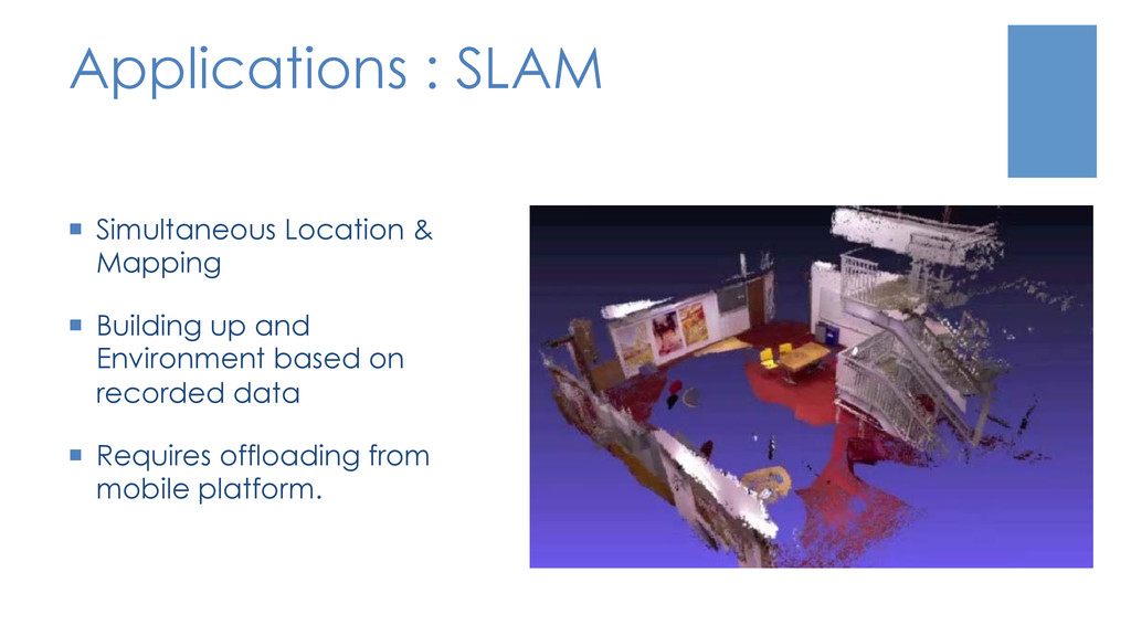 Applications : SLAM ¡  Simultaneous Location &...