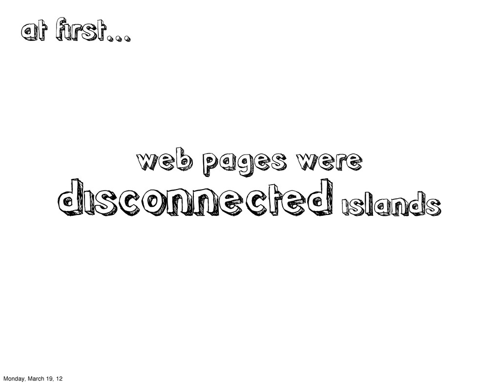web pages were disconnected islands at first......