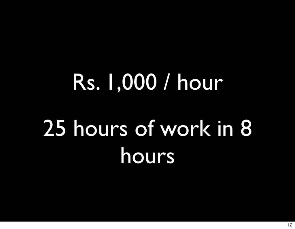 Rs. 1,000 / hour 25 hours of work in 8 hours 12