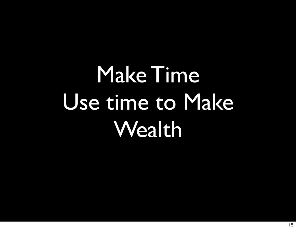 Make Time Use time to Make Wealth 15