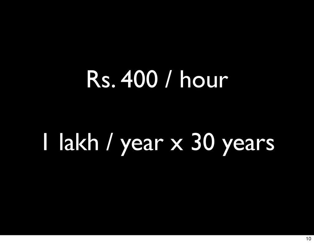 Rs. 400 / hour 1 lakh / year x 30 years 10