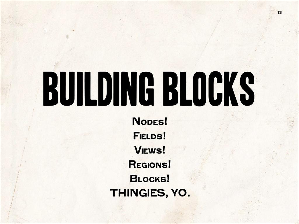 building blocks 13 Nodes! Fields! Views! Region...