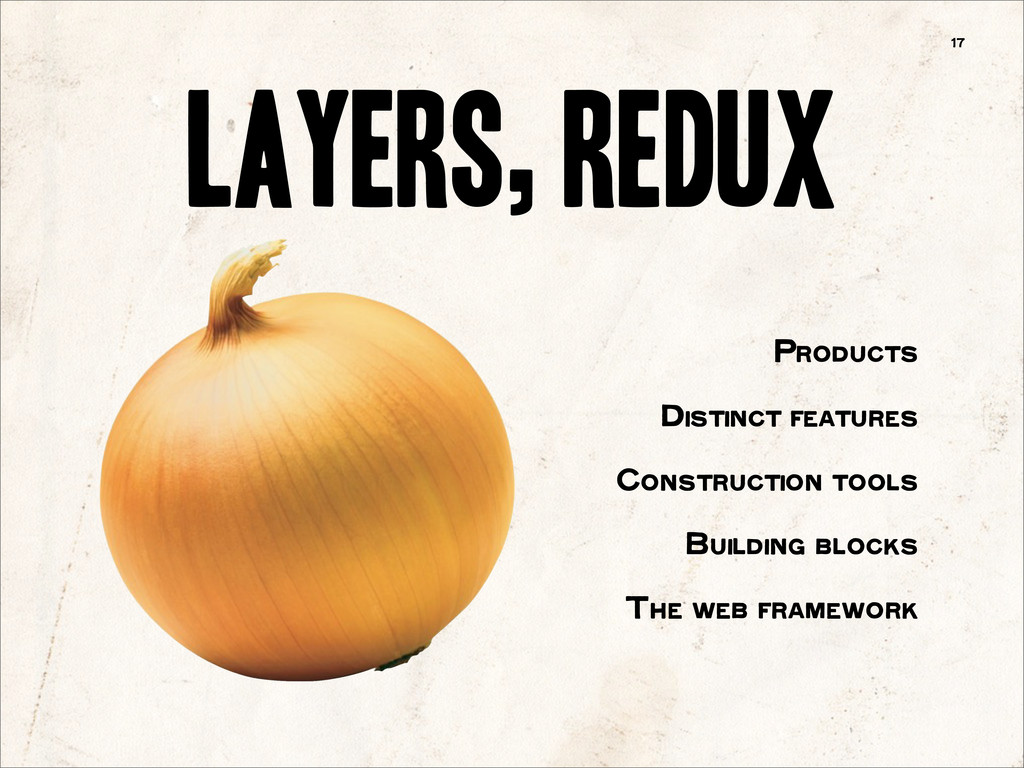 Layers, Redux 17 Products Distinct features Con...