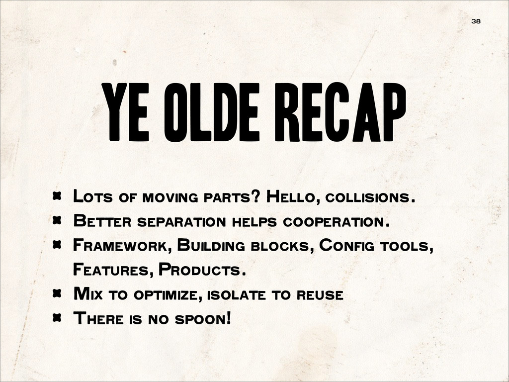 Ye Olde recap 38 Lots of moving parts? Hello, c...