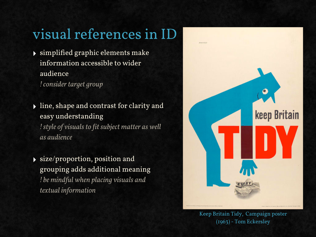 visual references in ID ‣ simplified graphic ele...