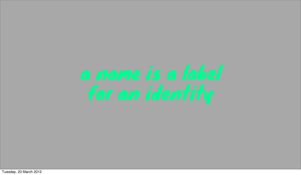 a name is a label for an identity Tuesday, 20 M...