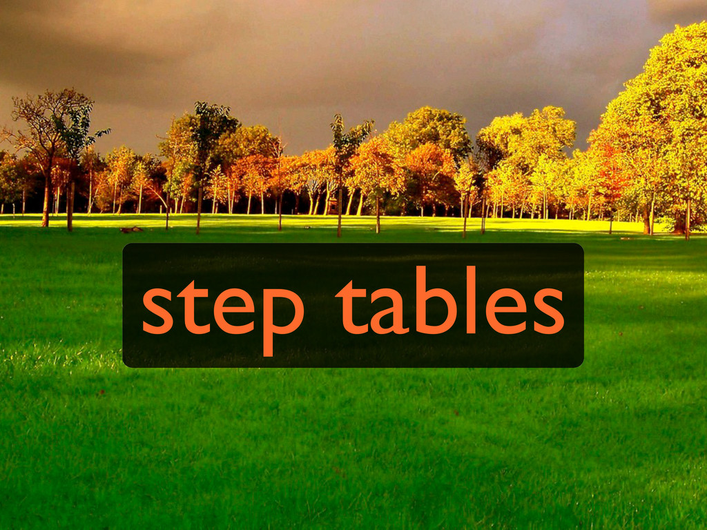 step tables