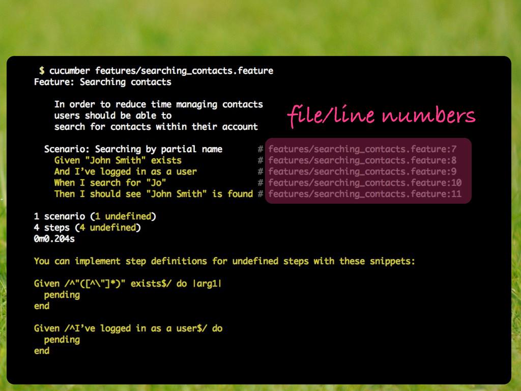 file/line numbers