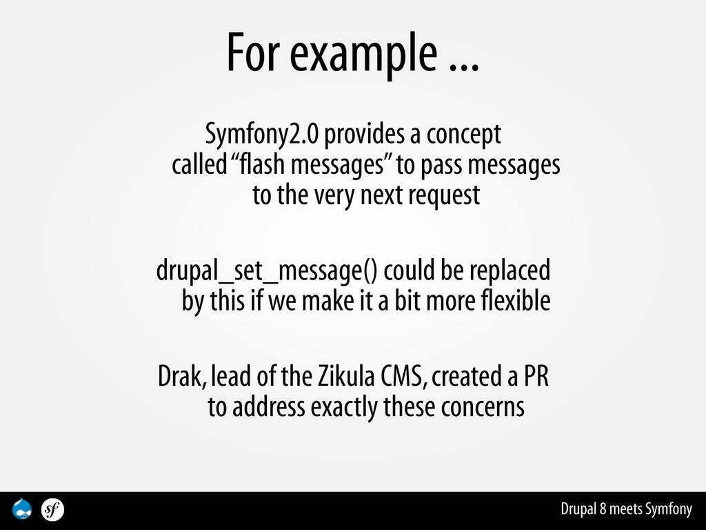 Drupal 8 meets Symfony For example ... Symfony2...