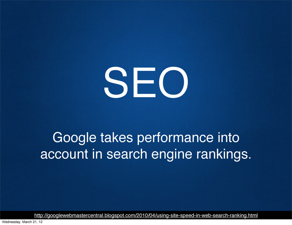 SEO Google takes performance into account in se...
