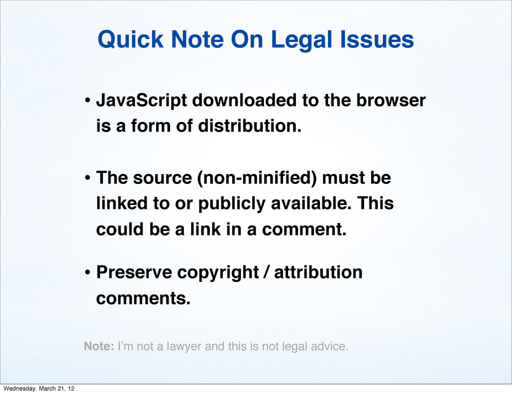 Quick Note On Legal Issues • JavaScript downloa...