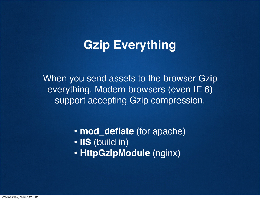 Gzip Everything When you send assets to the bro...