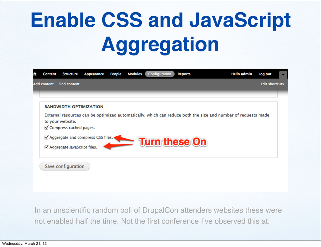 Enable CSS and JavaScript Aggregation In an uns...