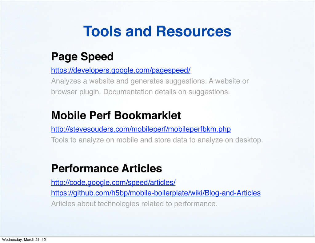Tools and Resources Page Speed https://develope...