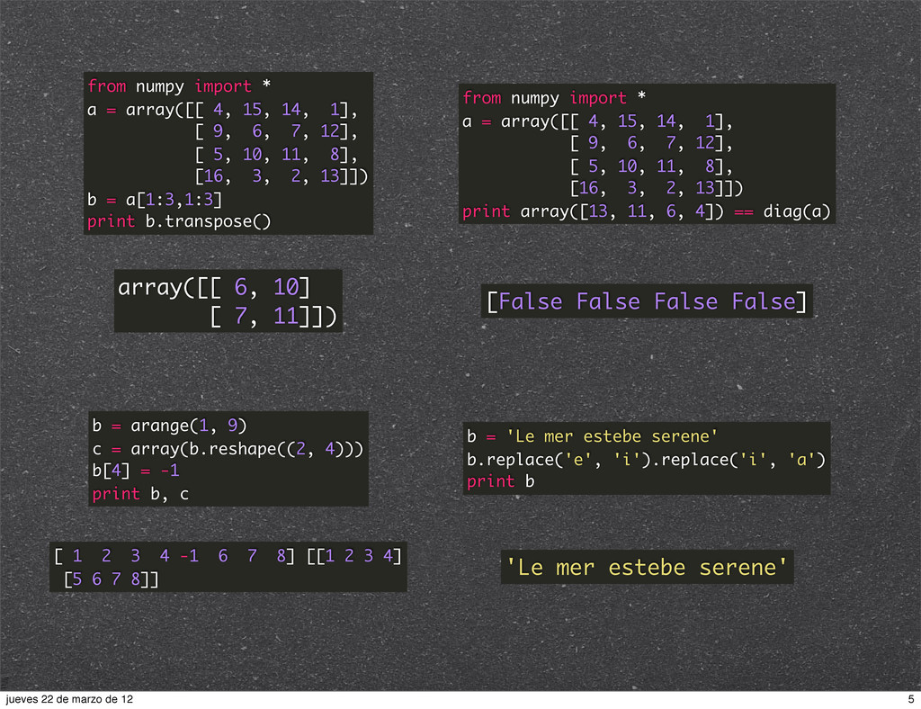 from numpy import * a = array([[ 4, 15, 14, 1],...