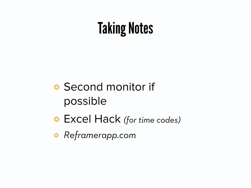 Taking Notes Second monitor if possible Excel H...