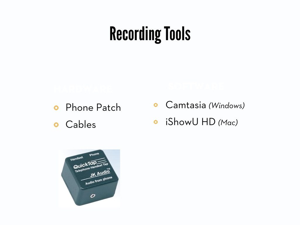 Recording Tools Phone Patch Cables Hardware Cam...