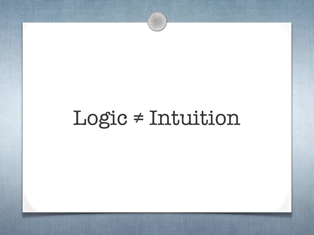 Logic ≠ Intuition