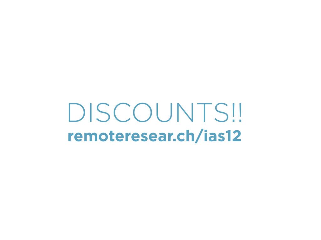 remoteresear.ch/ias12 DISCOUNTS!!