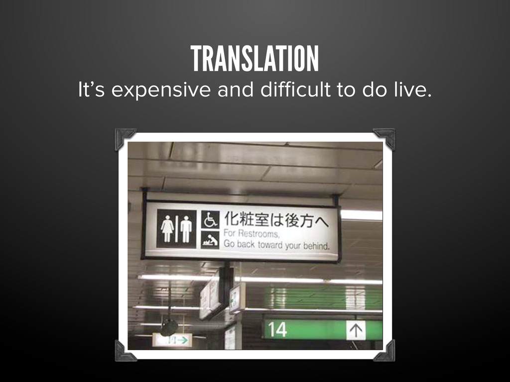 TRANSLATION It's expensive and difficult to do li...