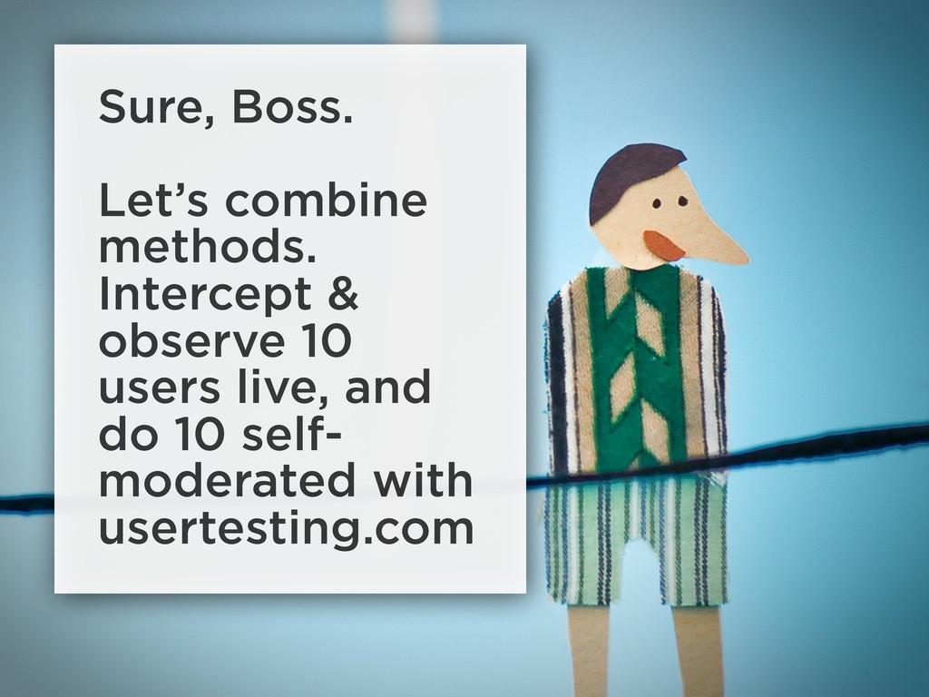 Sure, Boss. Let's combine methods. Intercept & ...