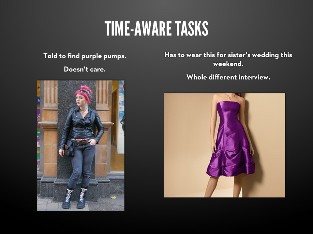 TIME-AWARE TASKS Told to find purple pumps. Does...