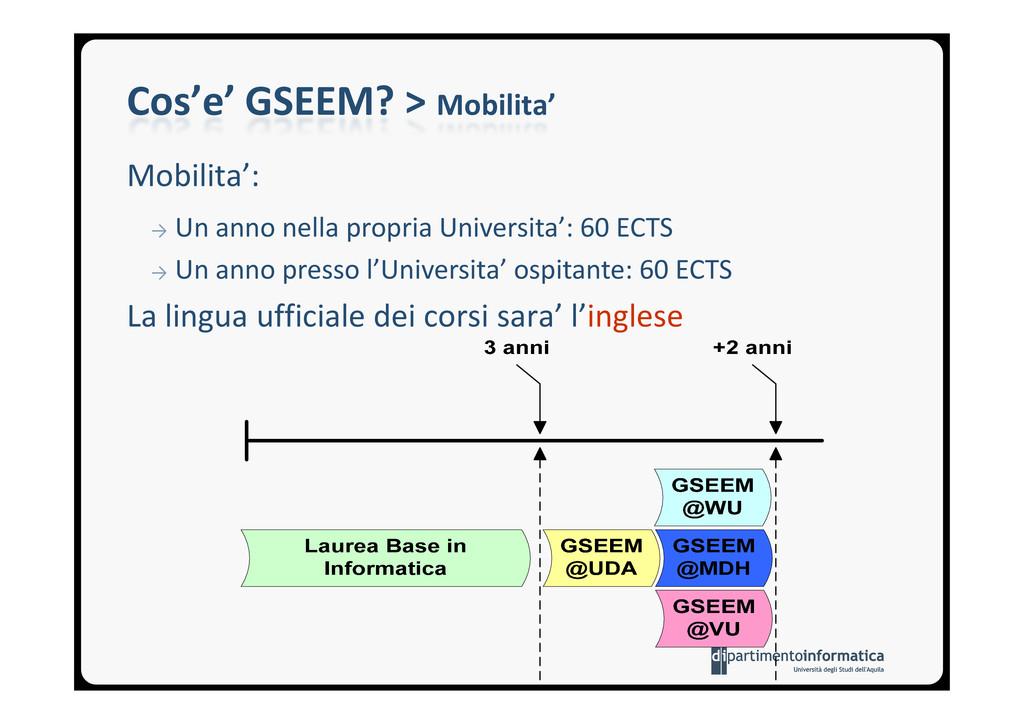Cos'e' GSEEM? > Mobilita' Mobilita': → Un anno ...