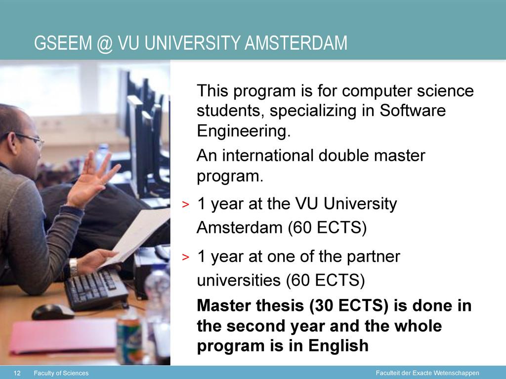Faculteit der Exacte Wetenschappen GSEEM @ VU U...