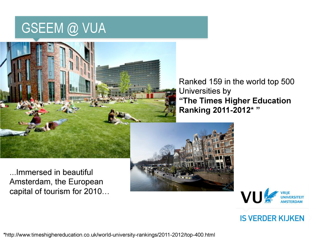 GSEEM @ VUA Ranked 159 in the world top 500 Uni...