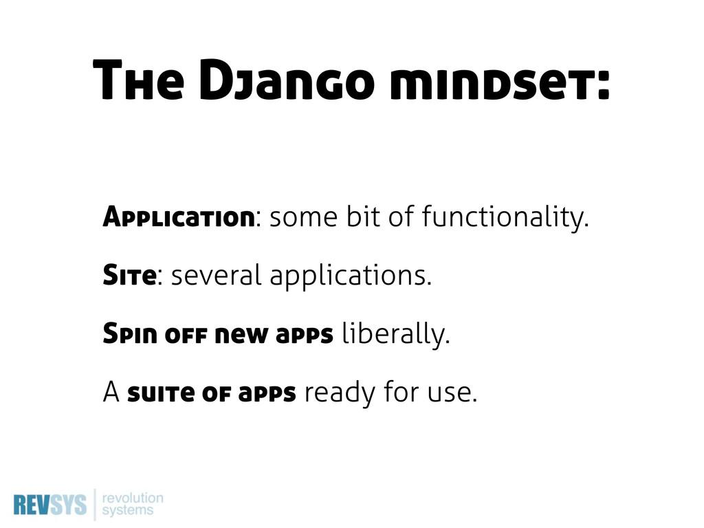The Django mindset: Application: some bit of fu...