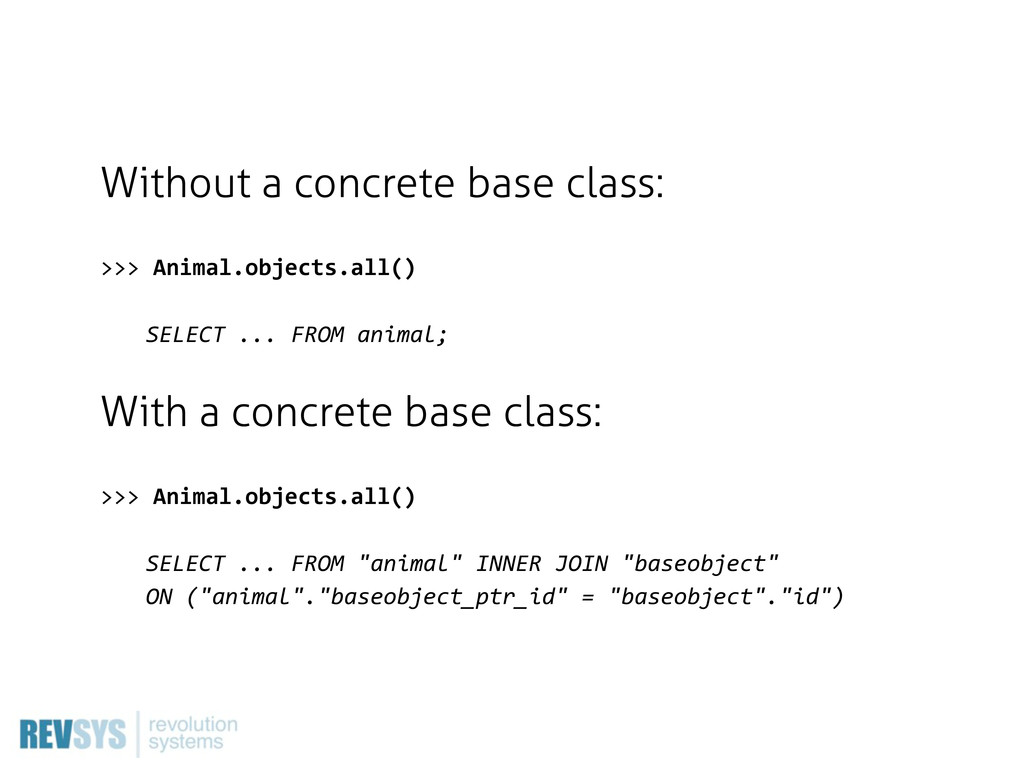 Without a concrete base class: >>>  Animal.obje...
