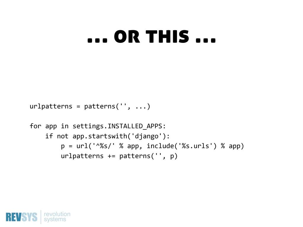 urlpatterns = patterns('', ...) for app in...