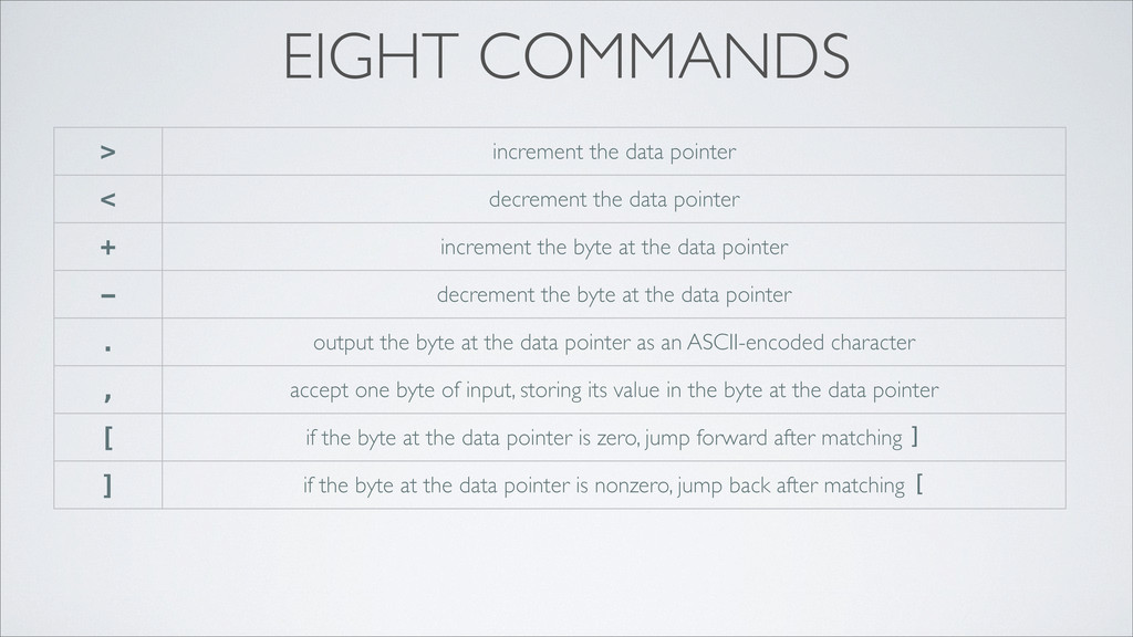EIGHT COMMANDS > increment the data pointer < d...