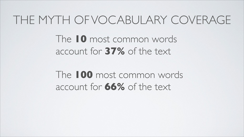 THE MYTH OF VOCABULARY COVERAGE The 10 most com...