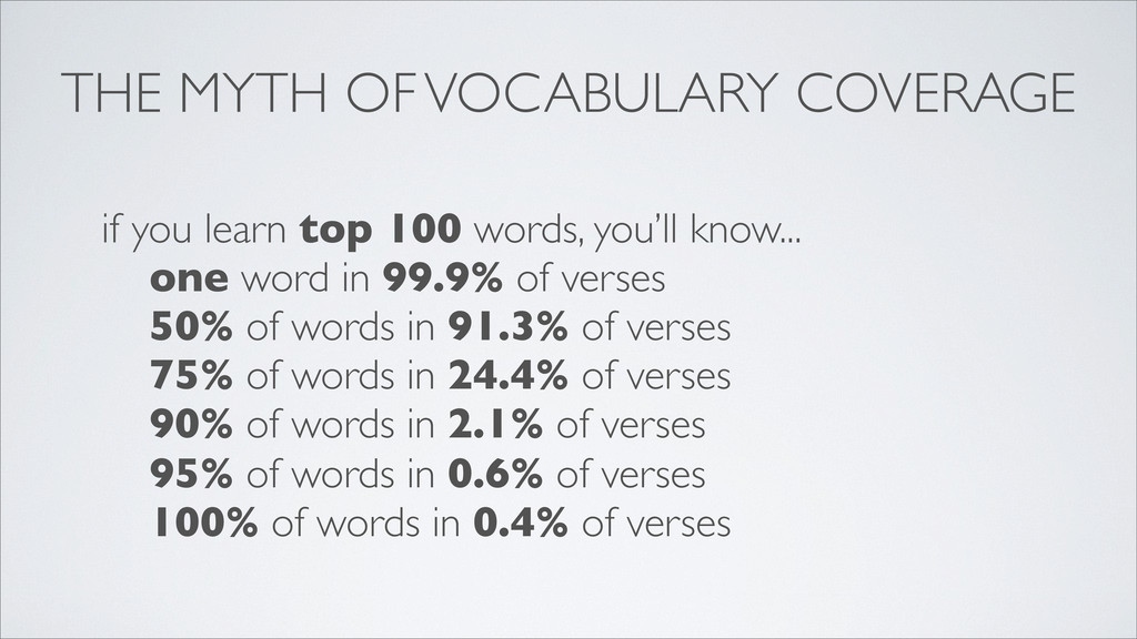 THE MYTH OF VOCABULARY COVERAGE if you learn to...
