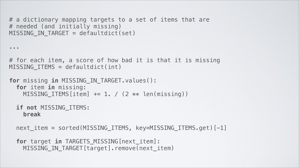 # a dictionary mapping targets to a set of item...