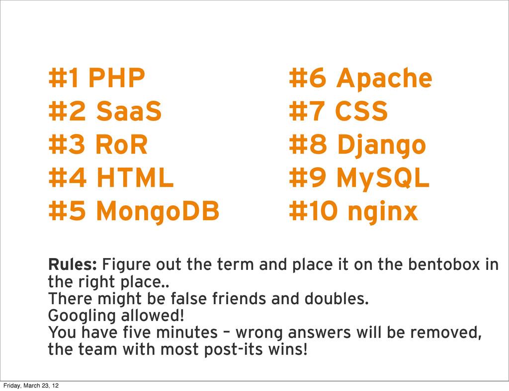 R #1 PHP #2 SaaS #3 RoR #4 HTML #5 MongoDB Rule...