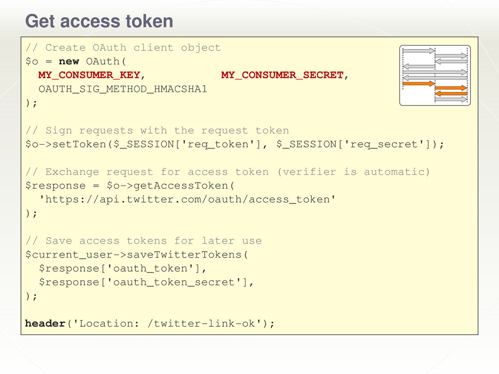Get access token // Create OAuth client object ...