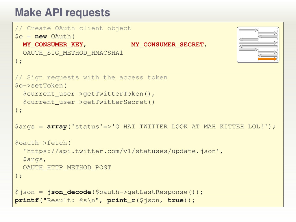 Make API requests // Create OAuth client object...