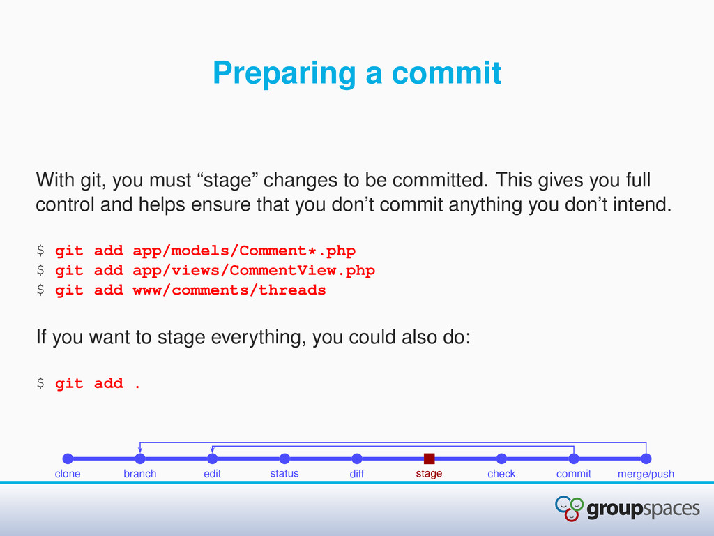 """Preparing a commit With git, you must """"stage"""" c..."""