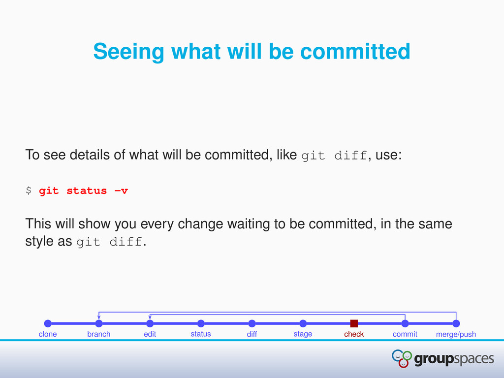 Seeing what will be committed To see details of...