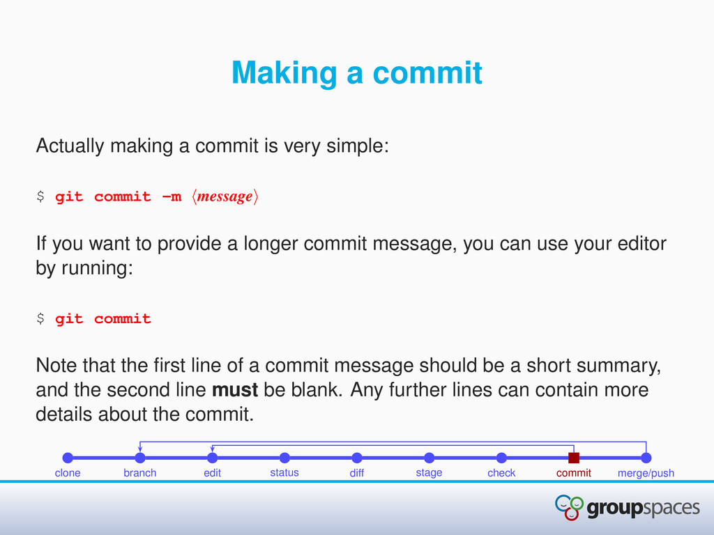 Making a commit Actually making a commit is ver...