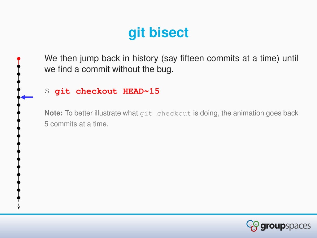 git bisect We then jump back in history (say fif...