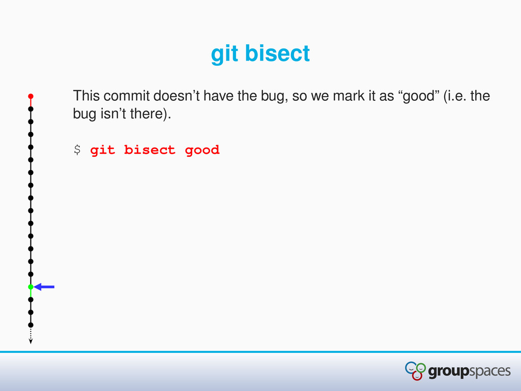 git bisect This commit doesn't have the bug, so...