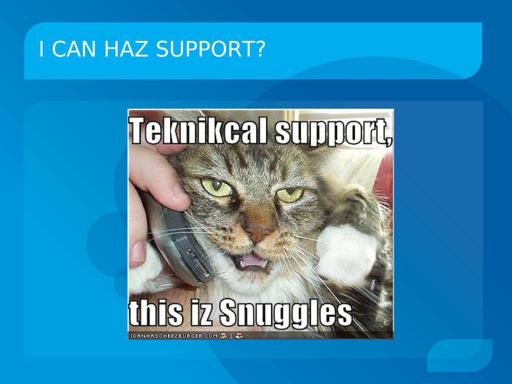 I CAN HAZ SUPPORT?