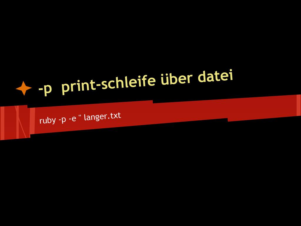 ruby -p -e '' langer.txt -p print-schleife über...