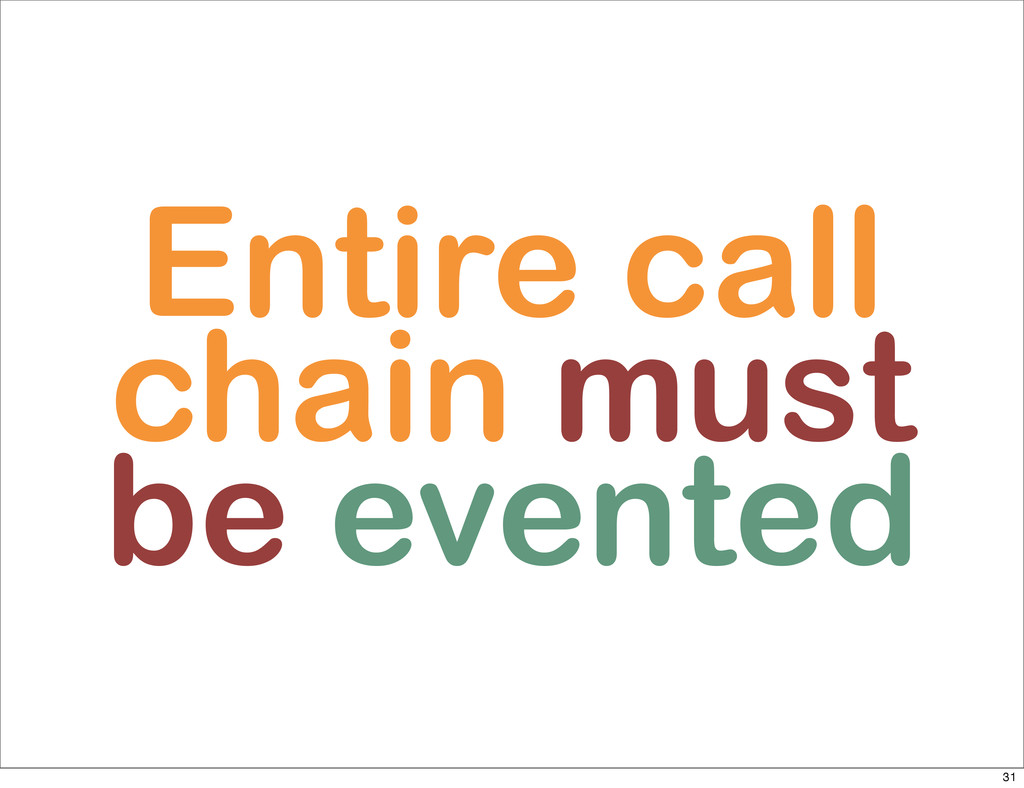 Entire call chain must be evented 31