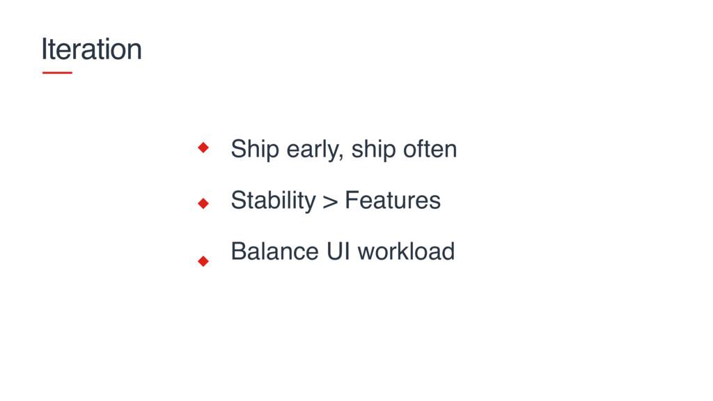 Iteration Ship early, ship often Stability > Fe...